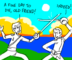 Two friends sword fighting on a beautiful day