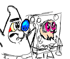 Ren and Stimpy as Squidward and Patrick