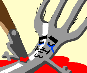 fork sheds one last tear before death