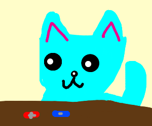A blue cat with two pills(red and blue).