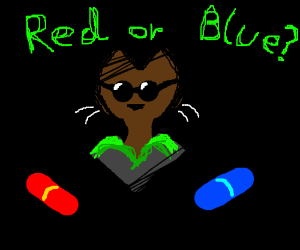 Cat Decides Red or Blue Pill