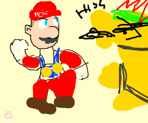 mario fighting bowser