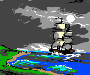 Ship approaches moonlight island cove