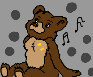 a cute little bear with 2 stars and music note