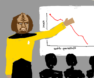 Worf presents line graph at business meeting