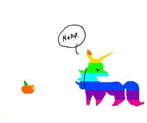 Rainbow Unicorn disagrees with apricots