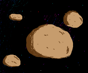 Potatoes drifting in space