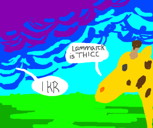 Giraffes talking about a man named Lammarck