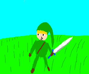 Link holding master sword in a grass field