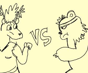 Anthro Bear Ryu Vs Anthro Deer Gokufight Drawing By