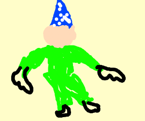 a guy wearing green with a blue hat on