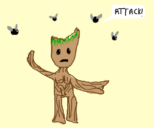 Groot being attacked by flies