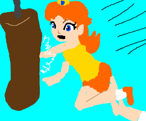 Princess Daisy works out with a punching bag.