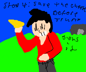 Step 3: Cheese hits trump in the face