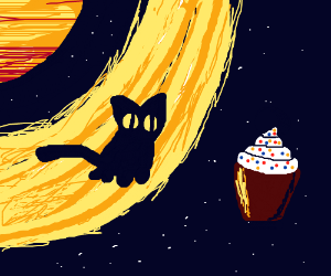 Kitten on Saturn's rings looks at a cupcake
