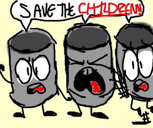 "3 cans that say: ""Save the children"""