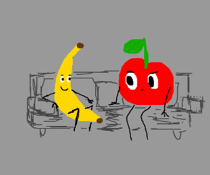 A banana and an apple sitting on a couch