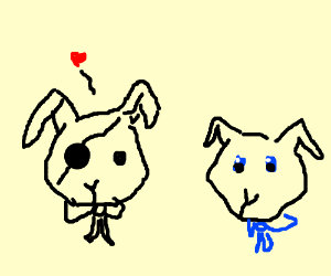 Eyepatch bunny in love with blue bowtie bunny