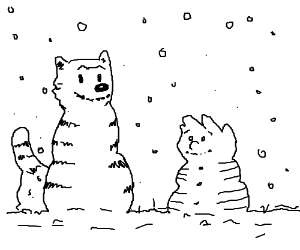 Calvin and Hobbes-Style Snowman