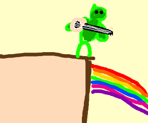Kermit thinks about life&everything on a cliff