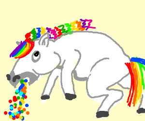 unicorn throwing up rainbow colored candies drawception
