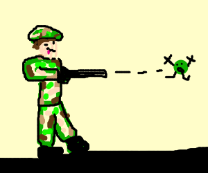 Peashooter shoots a pea - Drawception
