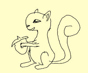 squirrel reaching a nut