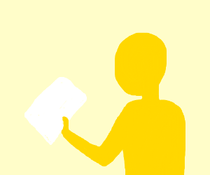 yellow man holding paper