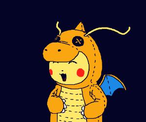Pikachu in a Dragonite costume (cute!!)