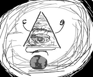 Meditating Illuminati watches over its planet