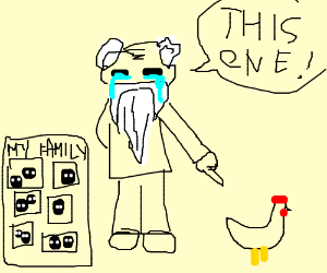 Crying oldman choosing chicken over his family