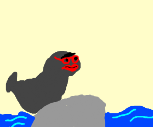 A seal with makeup and red glasses