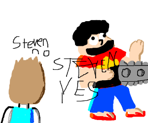Steven (Universe) with a chainsaw
