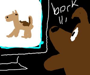 dog barking at dog on TV