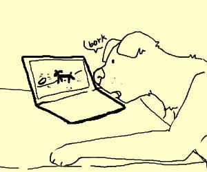 dog borks at online dog