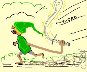 Dude running/yelling/ swinging a sword