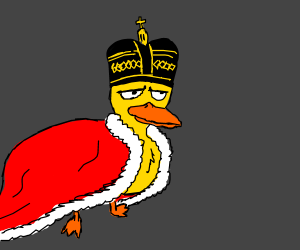 The God-King of all Ducks, in crown and cape.