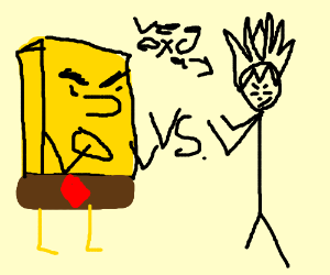 SpongeBob fighting Vegeta