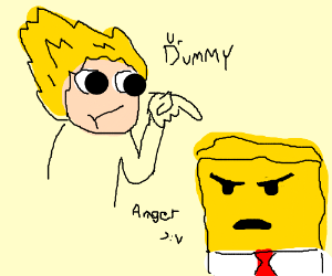 Super Saiyan calls Spongebob dummy; angery