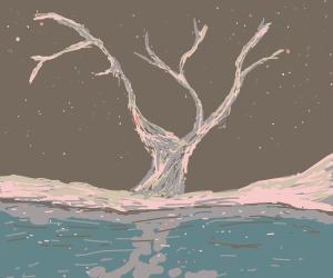 Tree in frozen lake