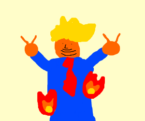 Trump on fire giving the double peace sign