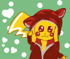Pikachu wearing a hoodie! Super cute!