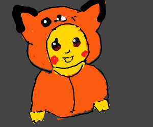 pikachu in a fox onesie <3