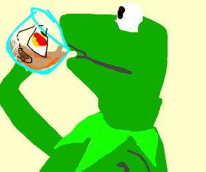Kermit sipping on tea