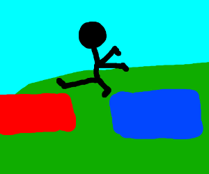 Person jumping between red and blue blocks