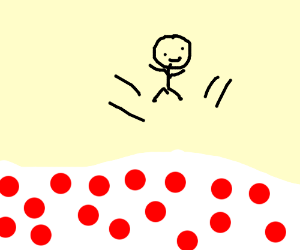 Man jumping on red spots