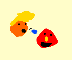 Donald Trump spitting on a character from elmo