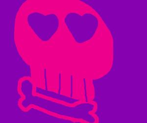 Pink skull on purple background
