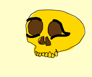 A weird yellow skull dude with eyeliner