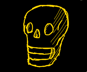 Well shaded Black skull with yellow outline
